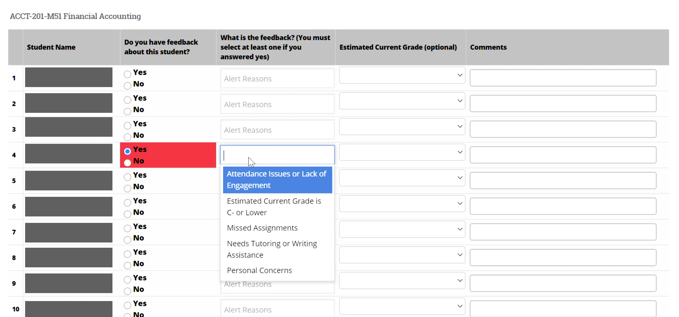 Student Feedback page, causes for concern drop down