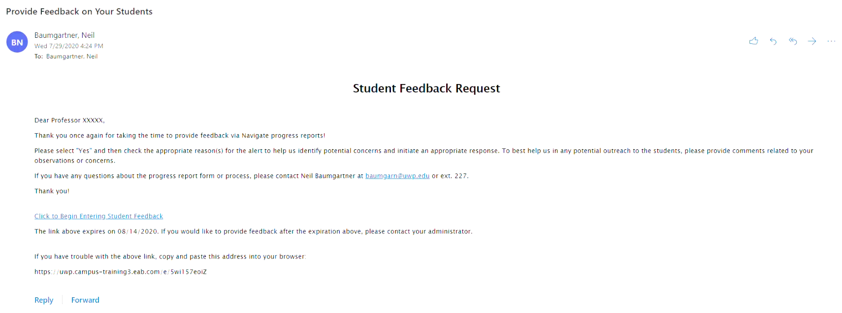 Example email from Navigate requesting feedback on students.