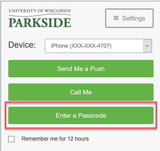 Image of DUO authenticaton option Enter a Passcode