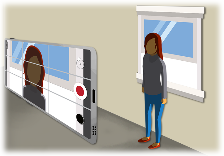 This illustration shows how a bright light behind the subject matter, in this case a bright window behind a person, can negatively affect the picture quality by overly darkening the person in the video.