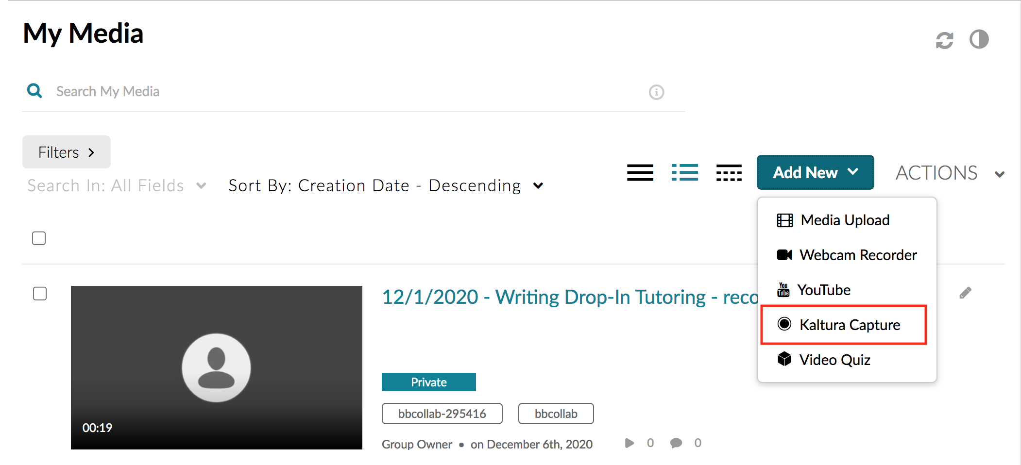 From the My Media page, click on the blue Add New button and launch the Kaltura Capture option.