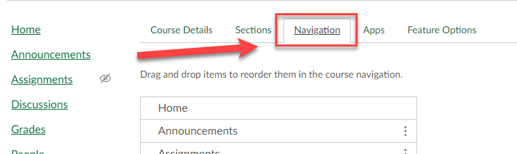 Image of Canvas course settings options. Navigation tab selected.