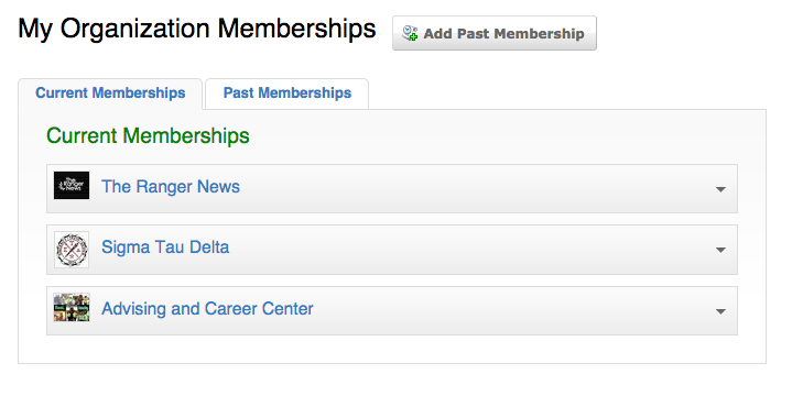 The Memberships homepage with My Organization Memberships displayed