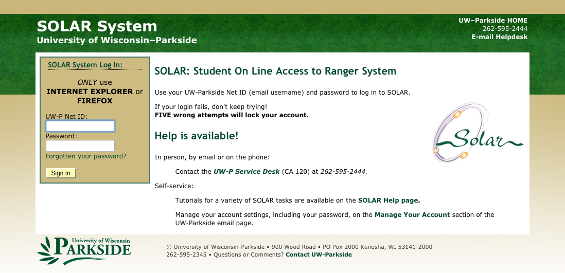 Screen shot of the Solar login page.
