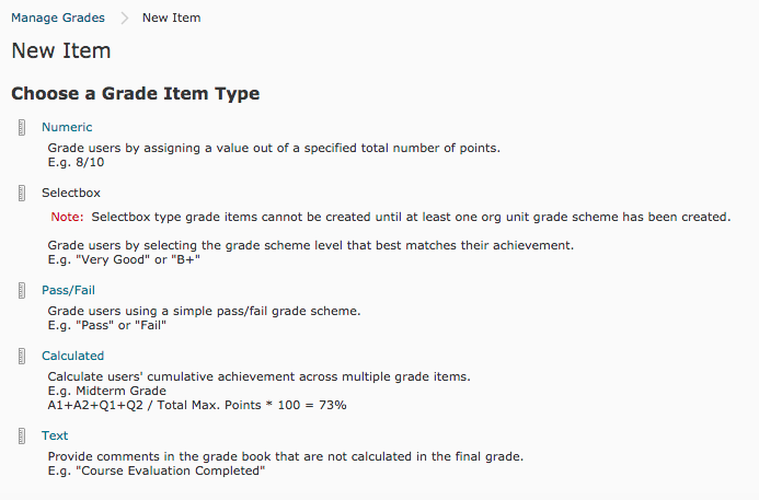 New Item menu under the Manage Grades page.
