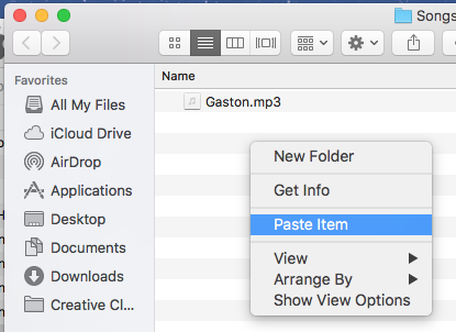 paste song to folder