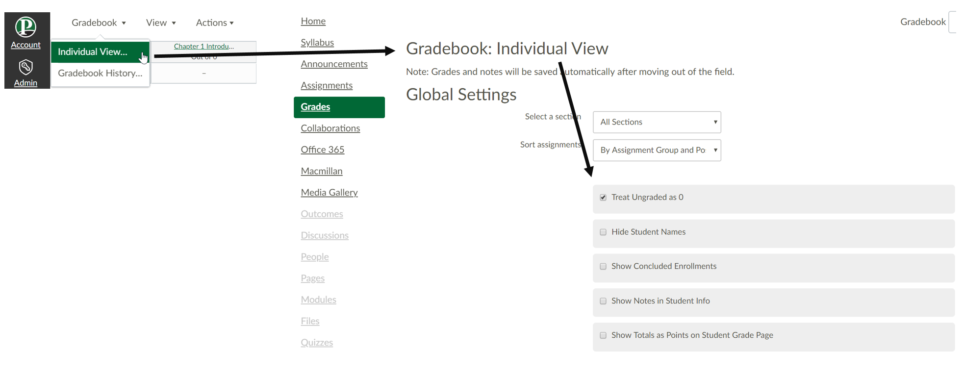 "Image Canvas Gradebook ""Treat ungraded items as 0"" setting"