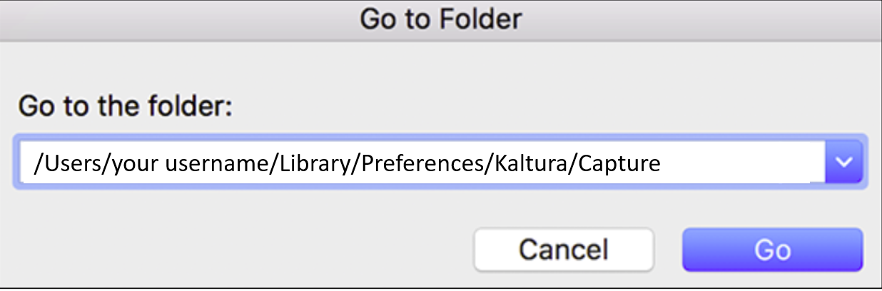 A screenshot of the folder location of kaltura capture recordings on a MAC