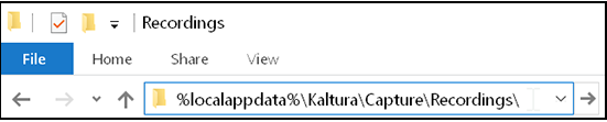 A screenshot showing the folder location of kaltura capture recordings on a PC
