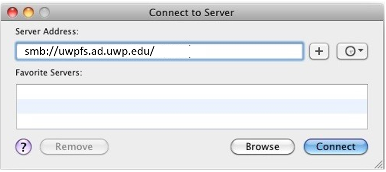 Image of Connect to Server dialog box