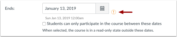 Image of Canvas Course End Date setting warning icon