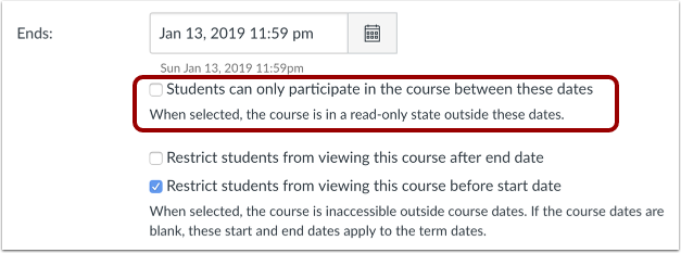 Image of Canvas Limit Student Participation setting
