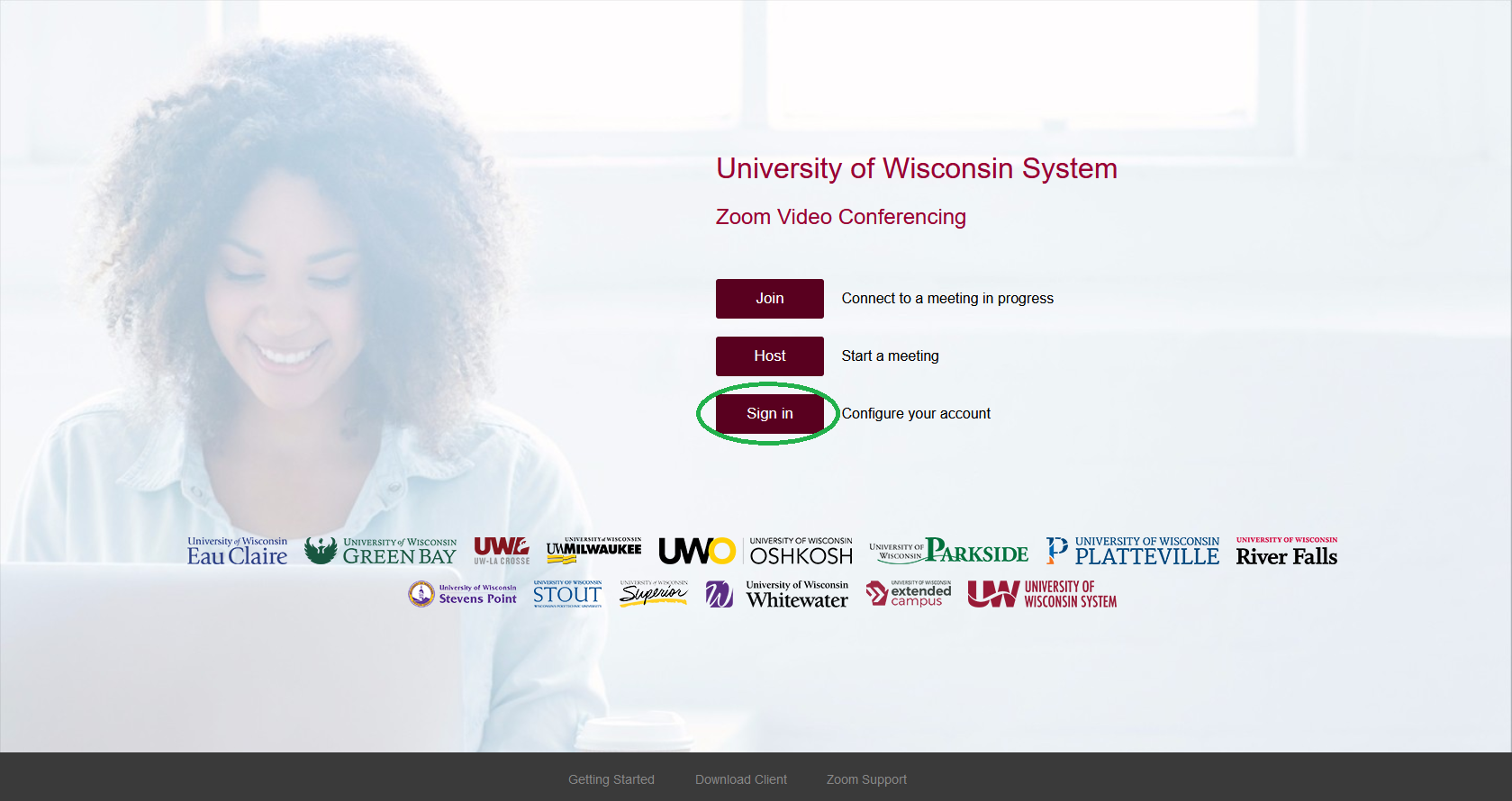UW System Zoom Page