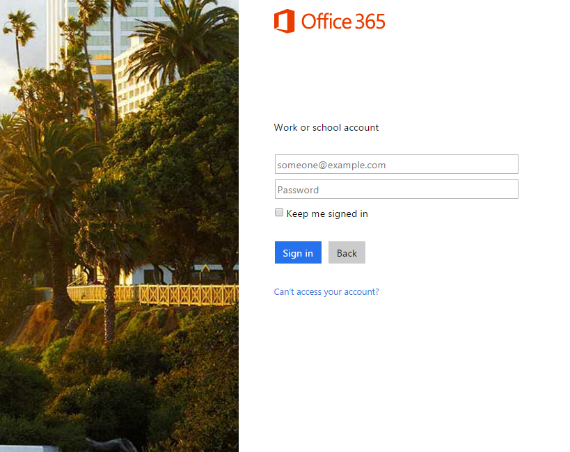Logging into Office 365 on the Web