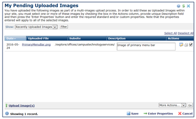 My Pending Uploaded Images window