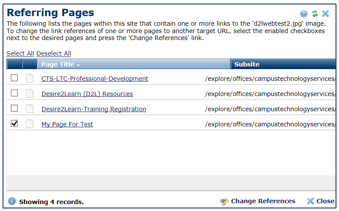 Referring Pages window