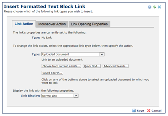 Insert Formatted Text Block Link window