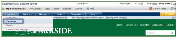 CommonSpot secondary menu bar - Properties menu