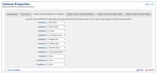 Right Column Widgets To Display tab