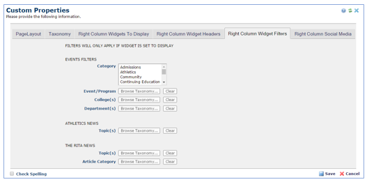 Right Column Widget Filters tab