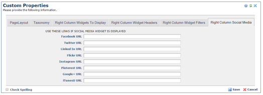 Right Column Social Media tab